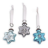 Winter Blues Set Of Three Star Shaped Glass Christmas Baubles