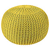 Chunky Knitted Pouffe Yellow