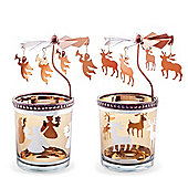 Set of Two Copper Finish Metal & Glass Carousel Christmas Tea Light Holders with Angels & Reindeer