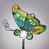 Garden Glows Solar Powered Green Glass Butterfly Garden Stake