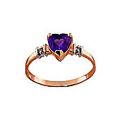 QP Jewellers Diamond & Amethyst Heart Ring in 14K Rose Gold