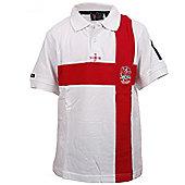 RFU Official England Rugby Union Boys Cross Of Saint George Polo - White