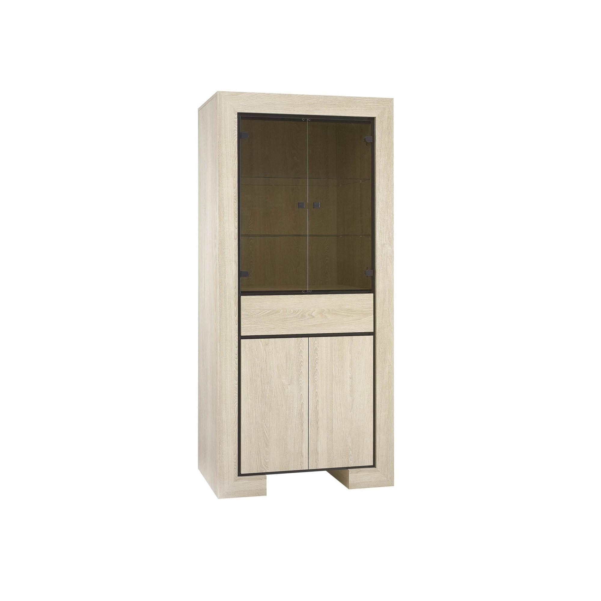 Urbane Designs Dominica Four Drawer Tall Double Display Cabinet in Oak at Tesco Direct