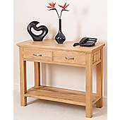 Aspen Solid Oak 2 Drawer Console Table