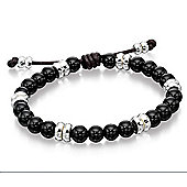 Mens Fred Bennett Silver and Black Onyx Beaded Bracelet