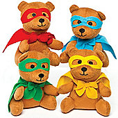 Star Hero Plush Teddy Bears Perfect Party Bag Filler and Cuddly Toy for Children (Pack of 4)