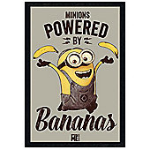 Despicable Me Black Wooden Framed Minions Powered By Bananas Poster