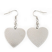 Rhodium Plated Textured 'Heart' Drop Earrings - 4.5cm Length