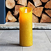 Large Gold Glitter Battery LED Dancing Flame Candle