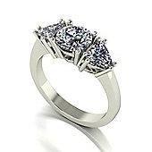 18ct Gold Round Brilliant and Trillion Cut Moissanite 3 Stone Ring