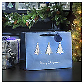 Blue and Silver Geo Tree Christmas Gift Bag, Large