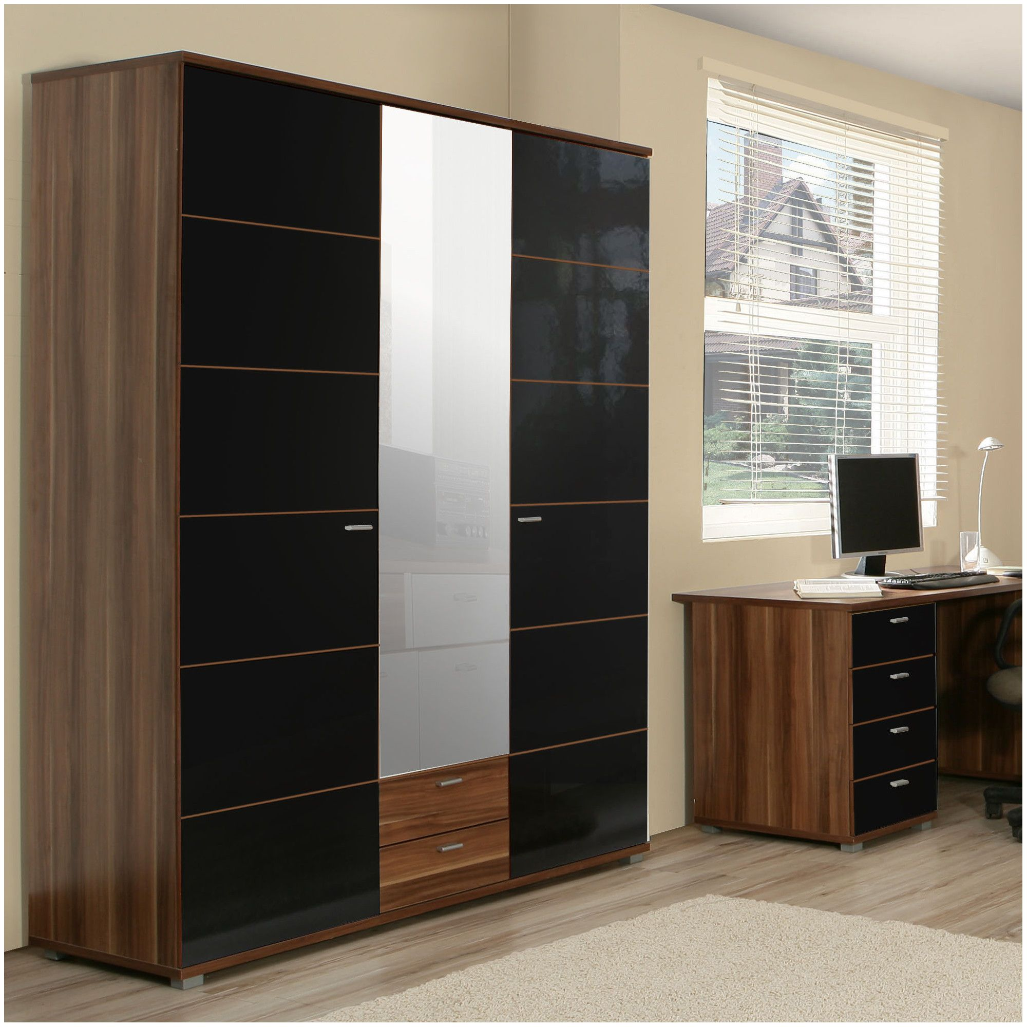 Ideal Furniture Anemone Triple Wardrobe with Mirror - Walnut with Black Gloss at Tesco Direct