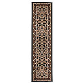 Tesco Low Pile Traditional Scroll Runner Black 60X230Cm
