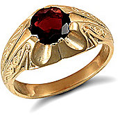 Jewelco London 9ct Solid gold men's garnet set solitaire Ring
