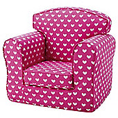 Children's Single Sofa Chair - Pink Hearts