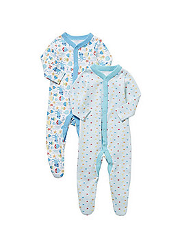 F&F 2 Pack of Fish Print Sleepsuits - Blue & White