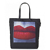 Lulu Guinness Lucy A Little Lipstick Canvas Shopper Black One