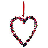 Large Artificial Frosted Berry Heart Hanging Decoration Wreath
