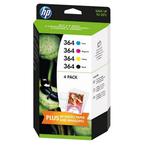 hp 364 4 pack black cyan magenta yellow original ink cartridges. Black Bedroom Furniture Sets. Home Design Ideas