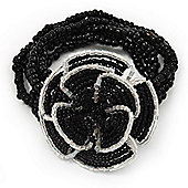 Black/White Glass Bead 'Rose' Flex Bracelet - up to 22cm Length