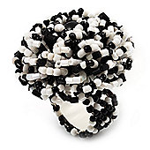 Black & White Glass Bead Flower Stretch Ring