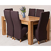Kuba Chunky Solid Oak 180 cm Dining Table with 6 Lola Fabric Dining Chairs (Brown)