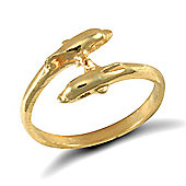 Jewelco London 9ct Solid Gold double dolphin design baby Ring