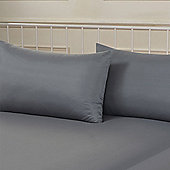 Brentfords Plain Dye Pillowcase, Pair - Grey