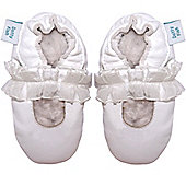 Dotty Fish Soft Leather Baby Shoe - White Mary-Jane Christening and Party Shoe - White
