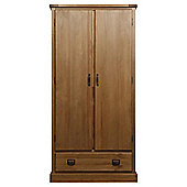 Portobello Double Wardrobe with Drawer, Rustic Pine