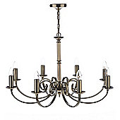 Modern Antique Brass Pendant Light with 8 Looping Arms