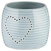 Ceramic Heart Tealight Holder Blue