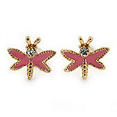 Children's/ Teen's / Kid's Small Pink Enamel 'Butterfly' Stud Earrings In Gold Plating - 10mm Width