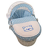 PreciousLittleOne White Wicker Moses Basket (Polka Ted Blue)