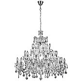 Large 3 Tier Ceiling Crystal Chandelier with Polished Chrome Metal