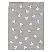 Lorena Canals Linen Corazones White Children's Rug - 120 cm W x 160 cm D (3 ft 11 in x 5 ft 3 in)