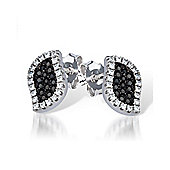 The REAL Effect Rhodium Coated Sterling Silver Black & White Cubic Zirconia Stud Earrings