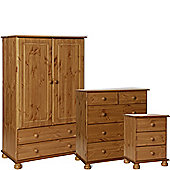 Nordic Pine Bedside, 2+3 Deep Drawer Chest, 2 Door 2 Drawer Combi Robe Package