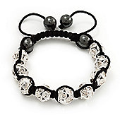 Clear Swarovski Crystal Balls & Smooth Round Hematite Beads Shamballa Bracelet - Adjustable