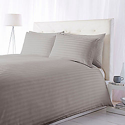 Luxury Hotel Collection 300Tc Wide Sateen Stripe Duvet Set Grey King