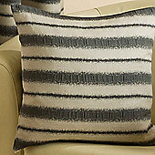 Homescapes Striped Charcoal and Beige Scatter Cushion