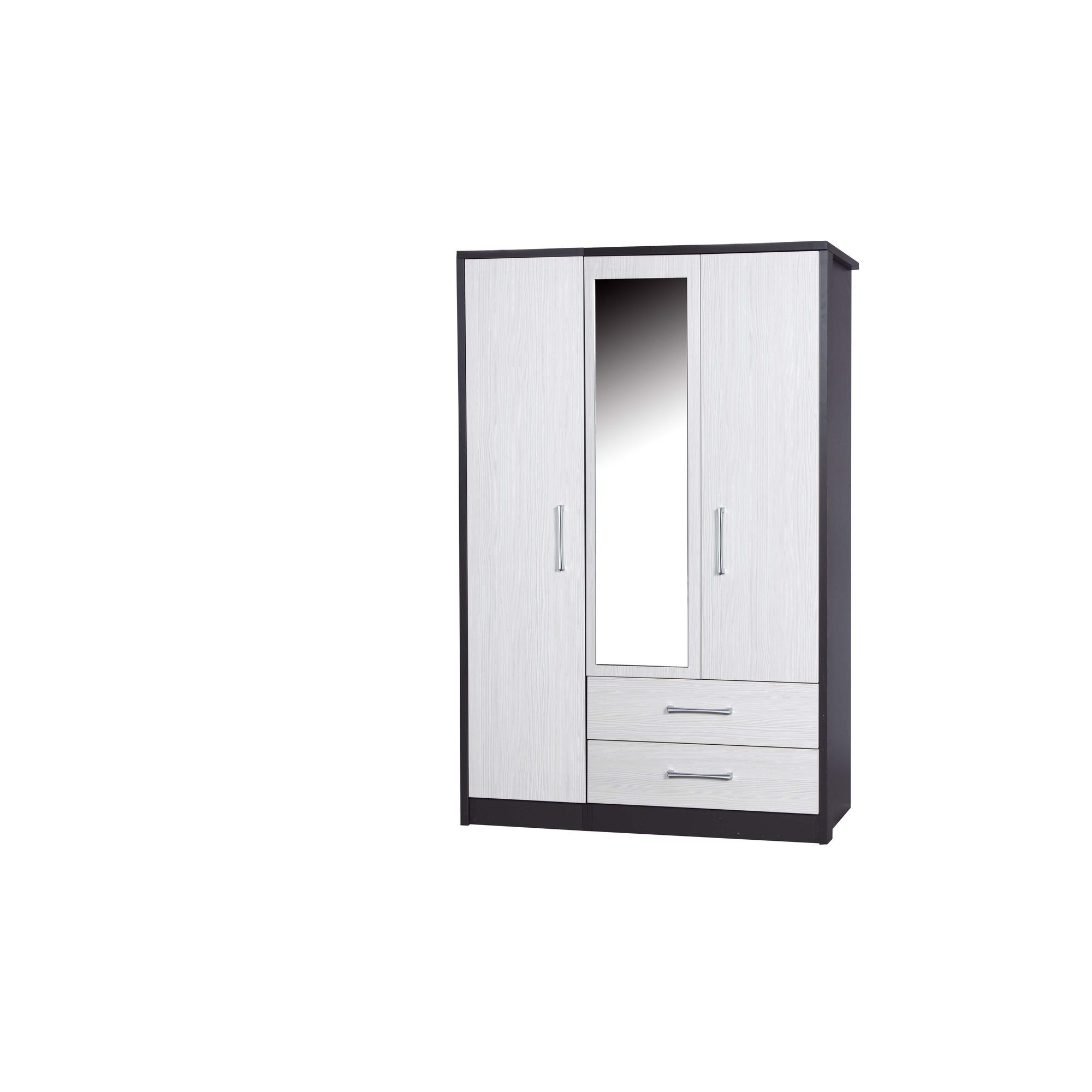 Alto Furniture Avola 3 Door Combi Wardrobe with Mirror - Grey Carcass With White Avola at Tesco Direct