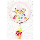 Children's Yellow and Pink Ice Cream Cone Clip on Charm