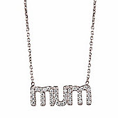 "Silver necklace with pave ""Mum"" pendant"