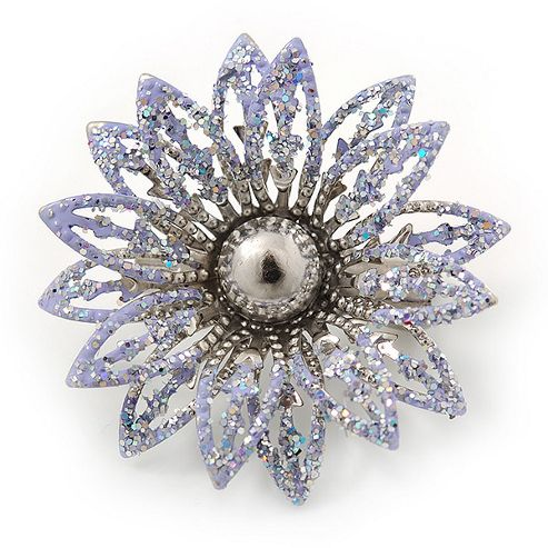 Small 3D Glittering Lavender Flower Brooch In Silver Tone - 30mm Diameter