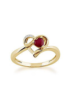 Gemondo 9ct Yellow Gold 0.29ct Ruby & Diamond Heart Ring