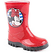 Minnie Mouse Girls Cliff Red Wellington Boots - Red