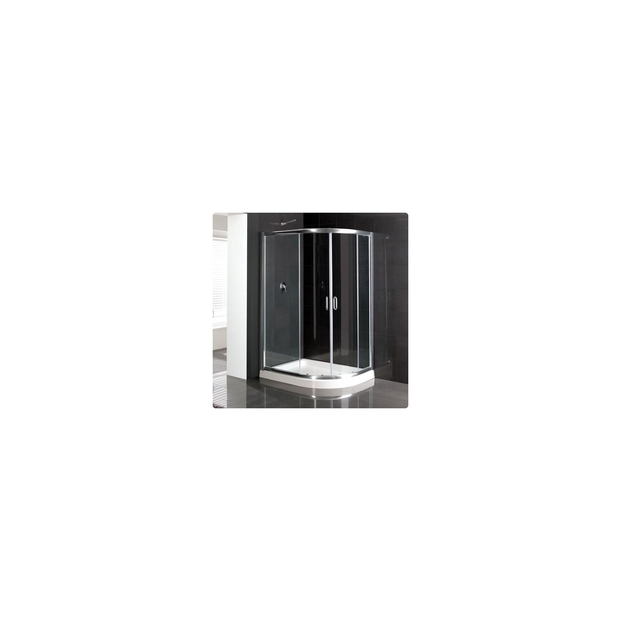 Duchy Elite Silver Offset Quadrant Shower Enclosure (Complete with Tray) 1000mm x 760mm, 6mm Glass at Tesco Direct