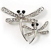 Fancy Clear Crystal Dragonfly Fashion Brooch