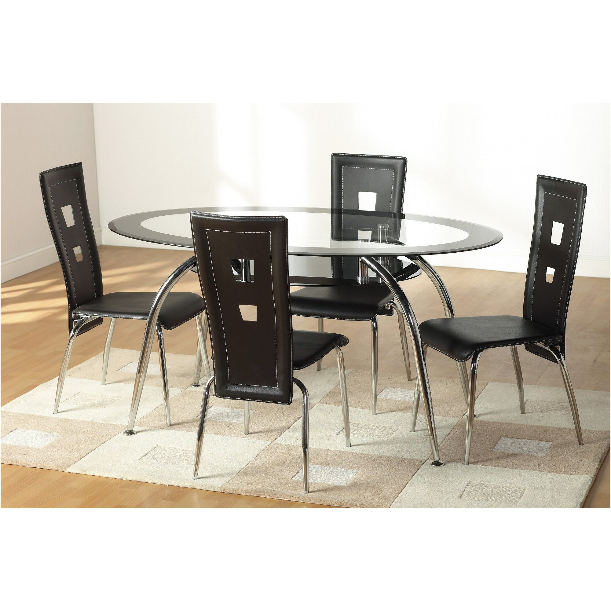 Home Essence Montrose 5 Piece Dining Set with Black Undershelf at Tesco Direct